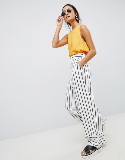 ASOS DESIGN tailored clean linen wide leg pants in stripe