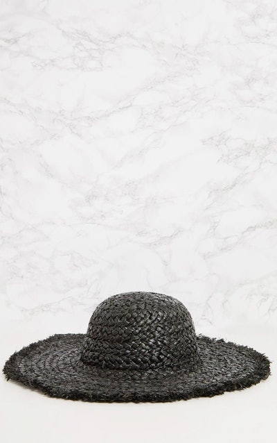 Black Straw Floppy Hat