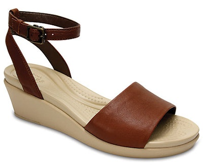 Women's Crocs Leigh-Ann Ankle Strap Leather Mini Wedge