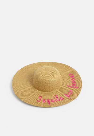 Brown Embroidered Slogan Large Straw Hat