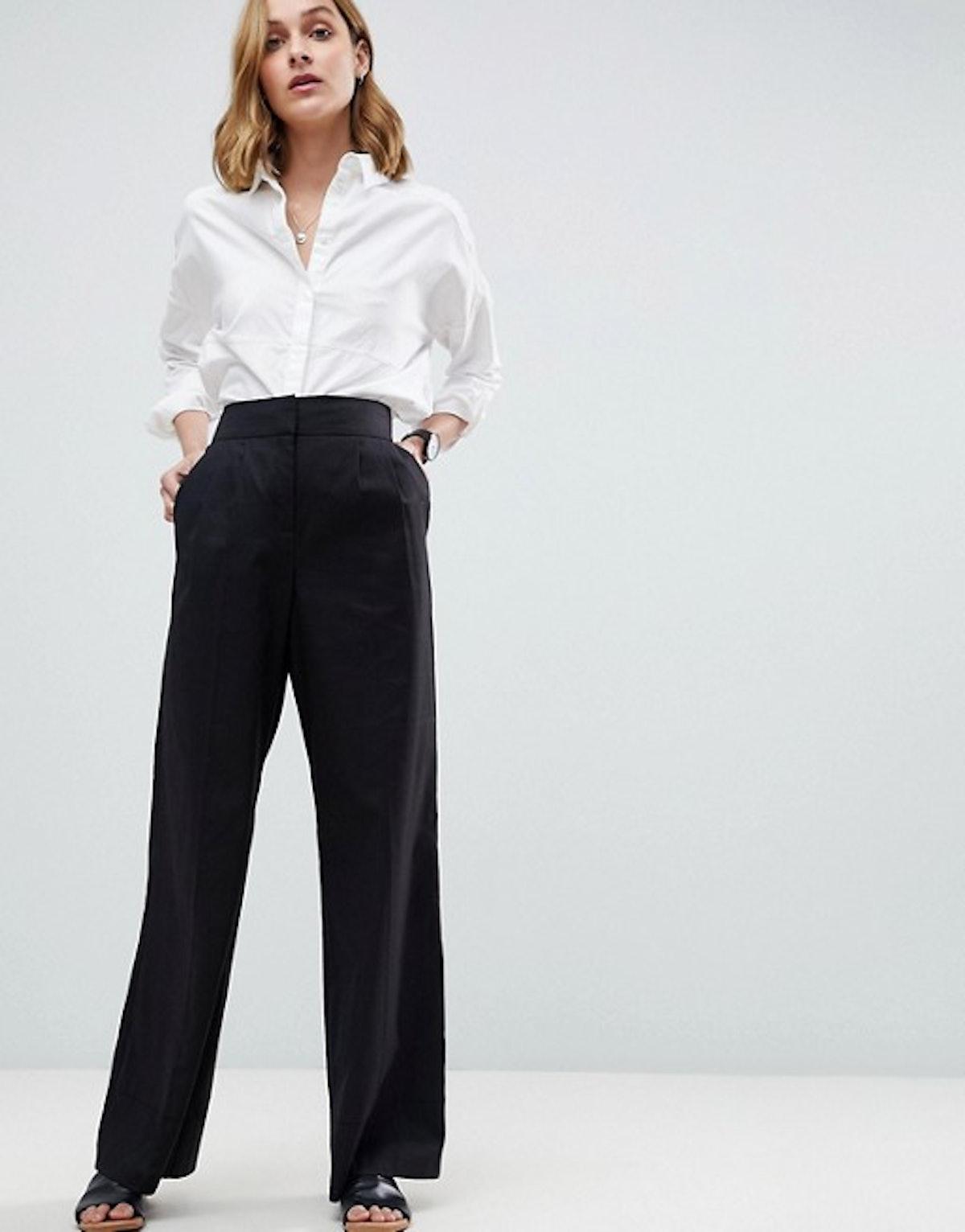 ASOS Tailored Clean Linen Wide Leg Pants