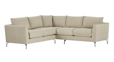 Rivet Emerly Modern Velvet Metal Leg Sectional Sofa