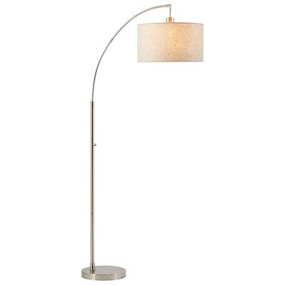 "Rivet Steel Arc Floor Lamp, 69"" H, with Bulb, Fabric Shade"