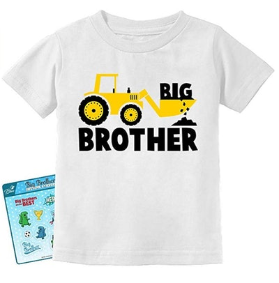 TeeStars Big Brother Gift for Tractor Loving Boys Toddler/Infant Kids T-Shirt + Stickers