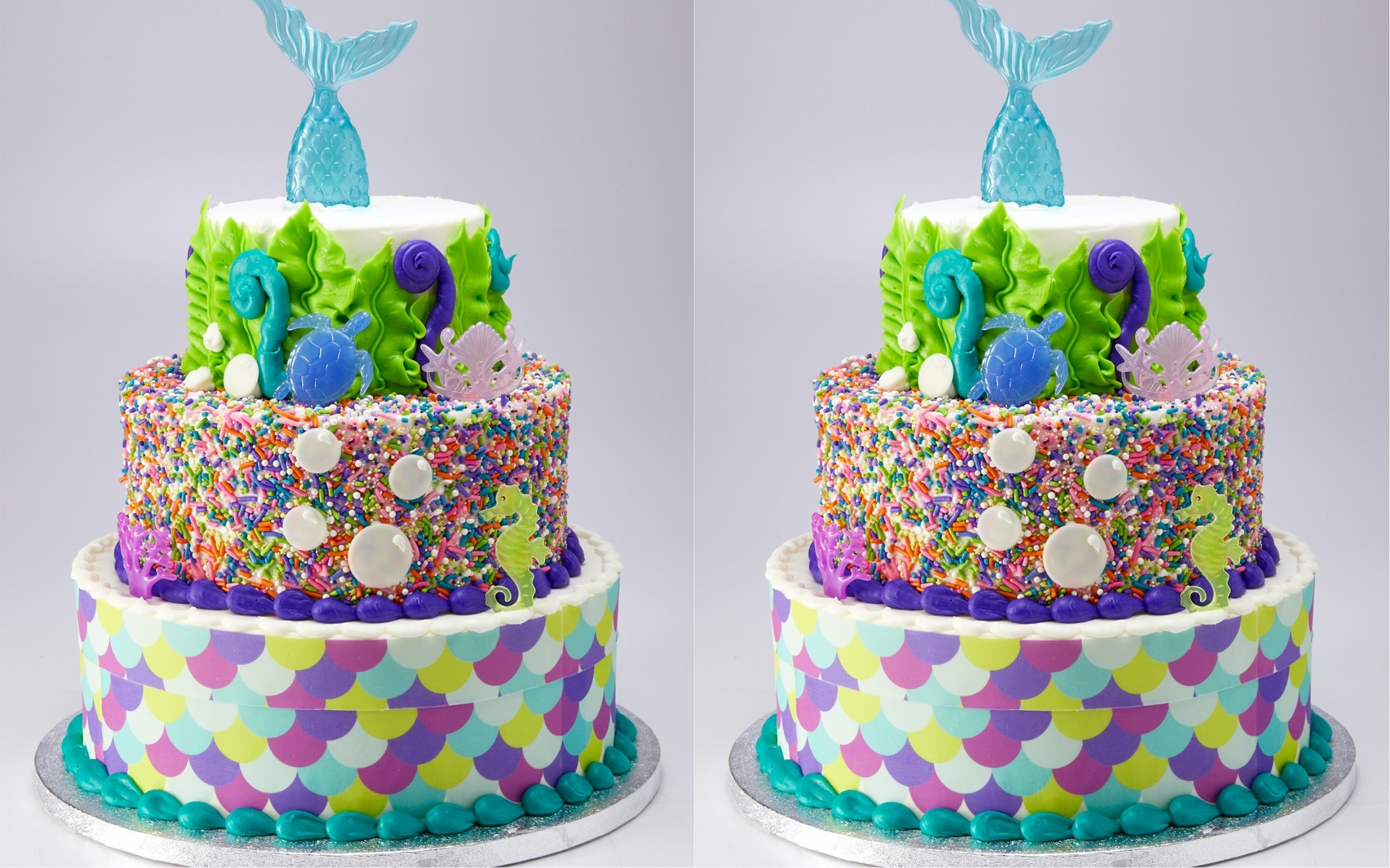 Excellent This 3 Tier Mermaid Cake From Sams Club Feeds 66 People And Costs Personalised Birthday Cards Paralily Jamesorg