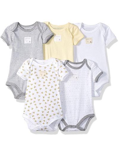 Burt's Bees Baby Set of 5 Bee Essentials Short Sleeve Bodysuits, 100% Organic Cotton
