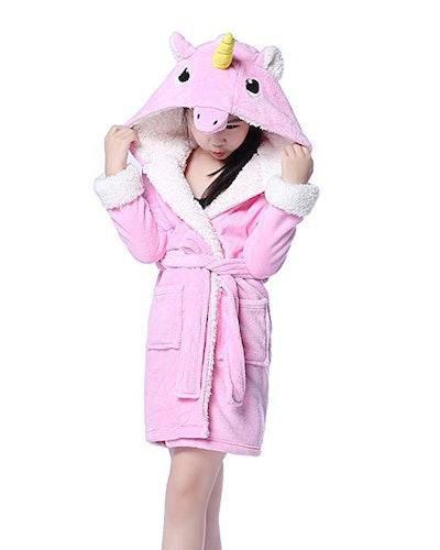 NEWCOSPLAY Children's Unicorn Hooded Bath Robe