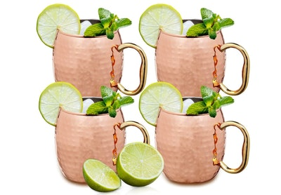 Estilo Handcrafted Solid Hammered Copper Moscow Mule Mugs — 35% Off