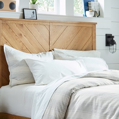 """Stone & Beam Washed Linen Stripe Duvet Cover Set, Full/Queen, 90"""" x 90"""", White with Blue Stripe"""