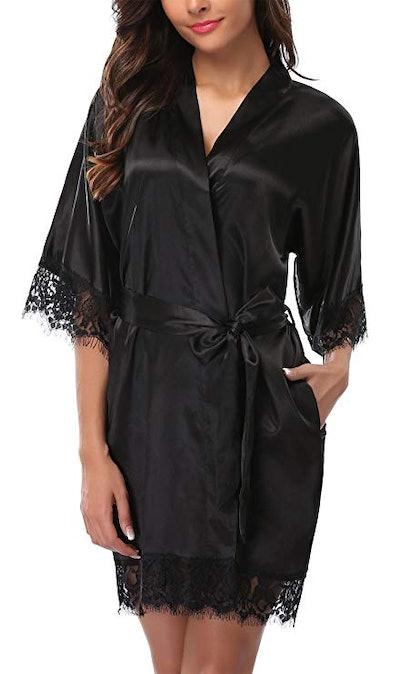 Giova Lace Trim Kimono Robe