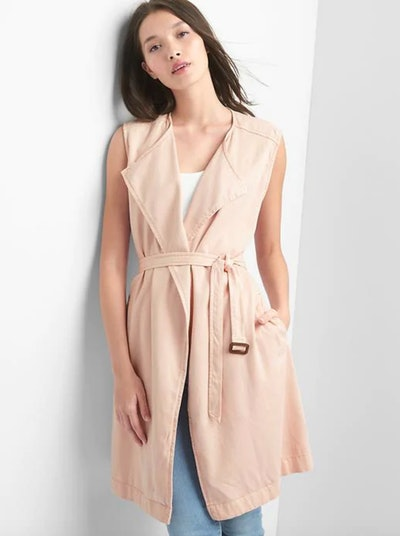 Tencel Belted Trench Vest