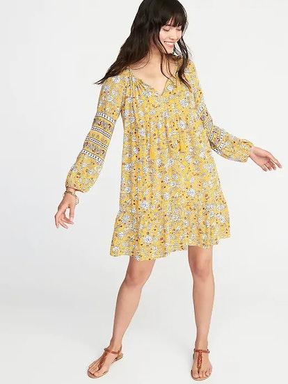 Boho Tassel-Tie Floral Swing Dress for Women