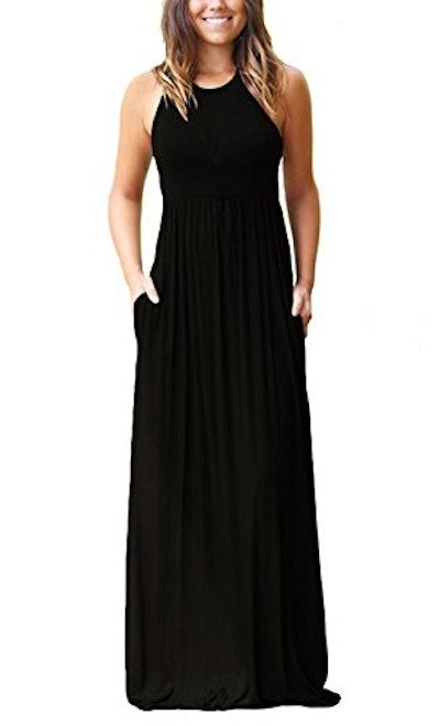 GRACERELLE Women's Sleeveless Racerback Loose Plain Maxi Dress