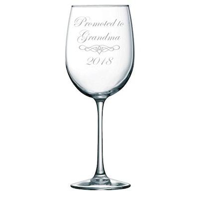Promoted to Grandma 2018 Wine Glass