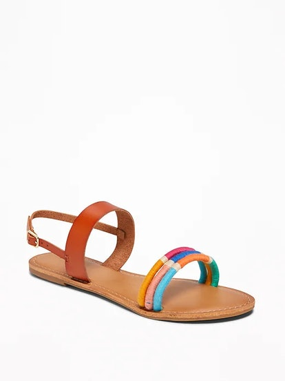 Wrapped-Thread Slingback Sandals for Women