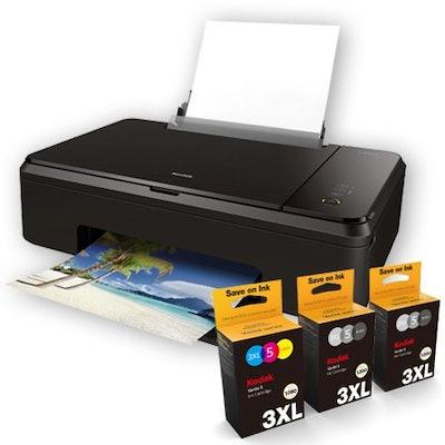 Kodak Verite Wireless Color Photo Inkjet Printer with Scanner & Copier & XL Ink Bundle (V65MEGA3ECO/37)