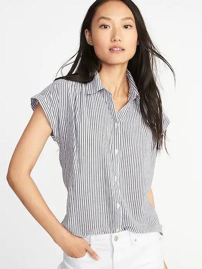 Relaxed Lightweight Cap-Sleeve Shirt for Women