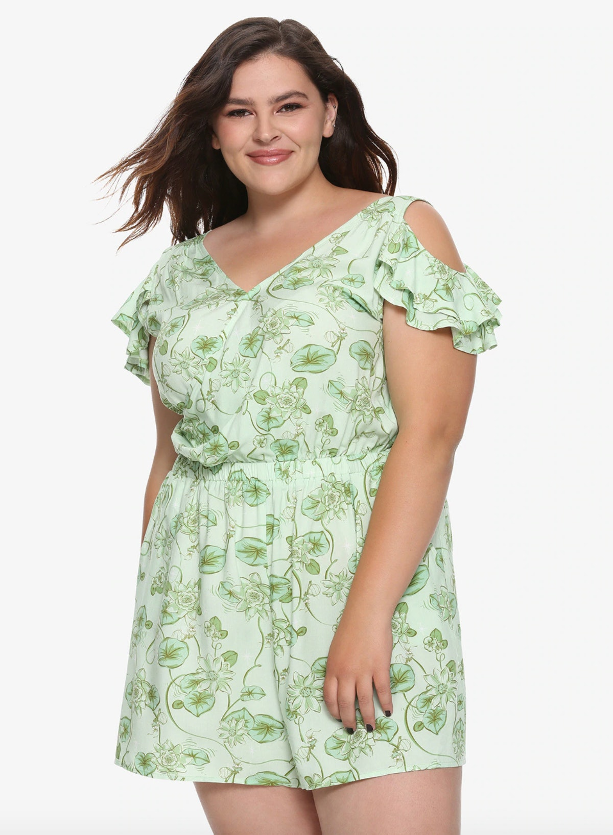 The Princess and The Frog Plus Size Cold Shoulder Romper