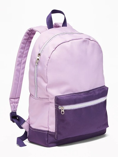 Color-Blocked Canvas Backpack