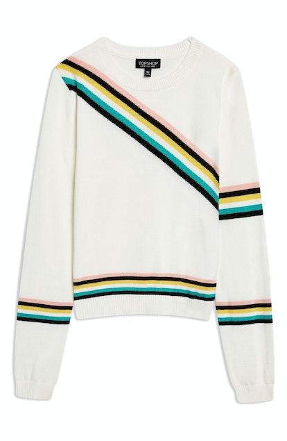 Topshop Chevron Fine Gauge Sweater