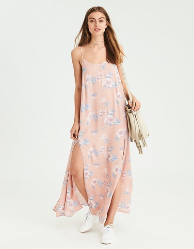 AE DOUBLE SLIT STRAPPY MAXI DRESS