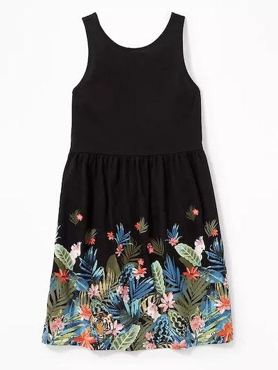 Printed Jersey Fit & Flare V-Back Dress for Girls