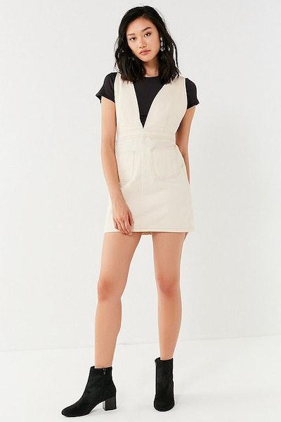 UO Plunge V-neck Denim Mini Dress