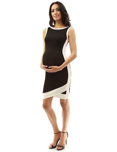 PattyBoutik Mama Boat Neck Sleeveless Tulip Maternity Dress