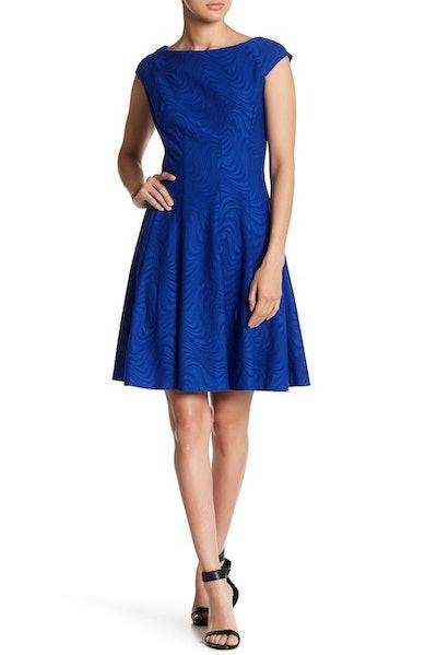 Gabby Skye Swirl Textured Knit Dress