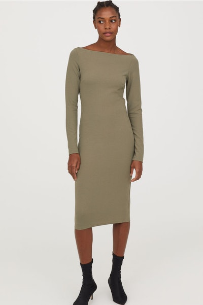 Fitted Dress in Khaki Green