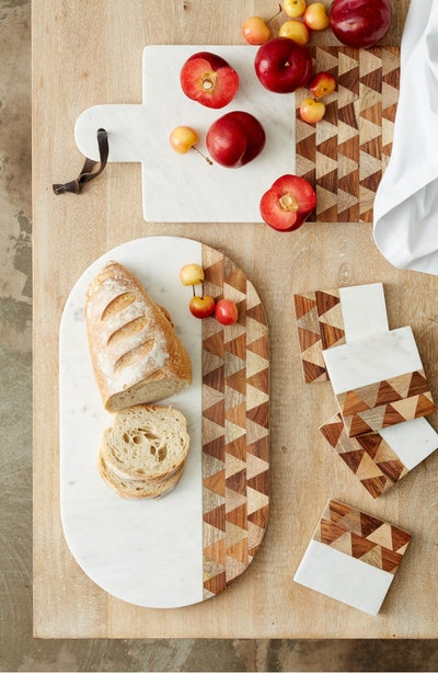 Nordstrom At Home Chevron Marble & Wood Serving Board