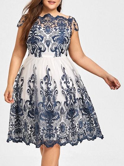 Plus Size Boat Neck Party Dress - Purplish Blue