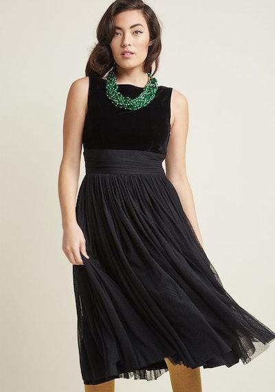 Banned Velvet Midi Dress with Mesh Skirt