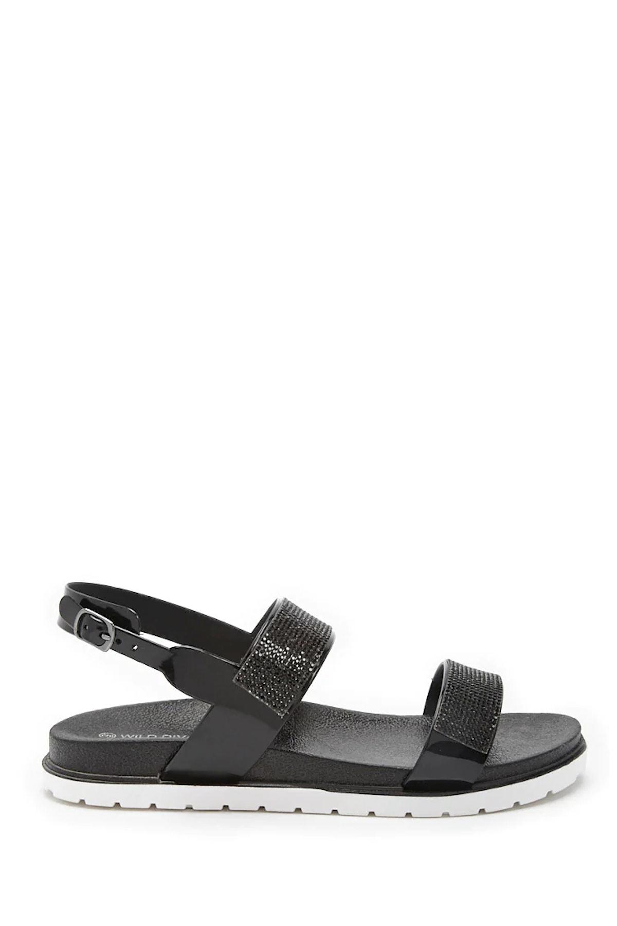 Rhinestone-Embellished Open Toe Sandals