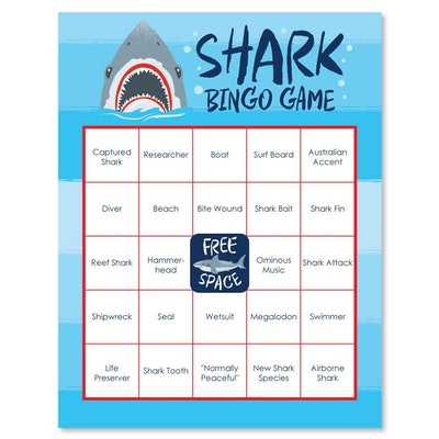 Jawsome Shark Party Game Bingo Cards