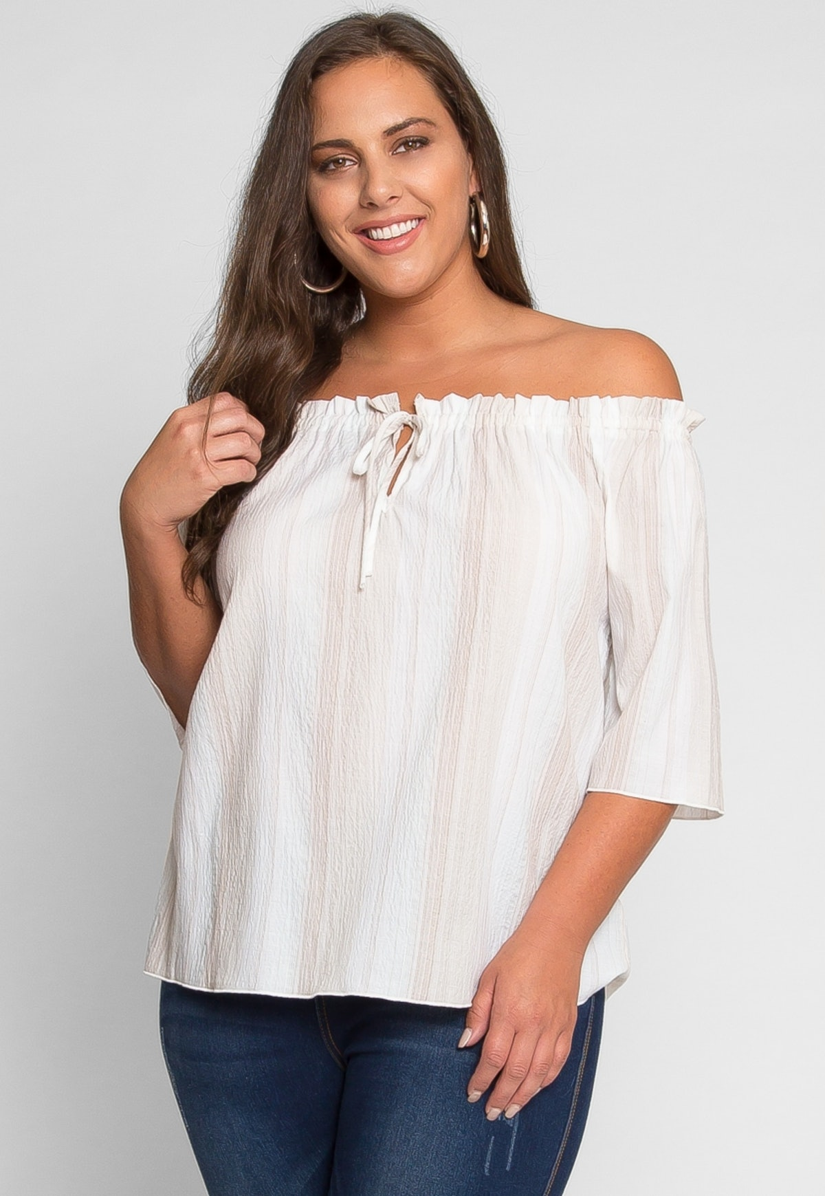 PLUS SIZE FREE OFF SHOULDER STRIPE TOP IN PINK