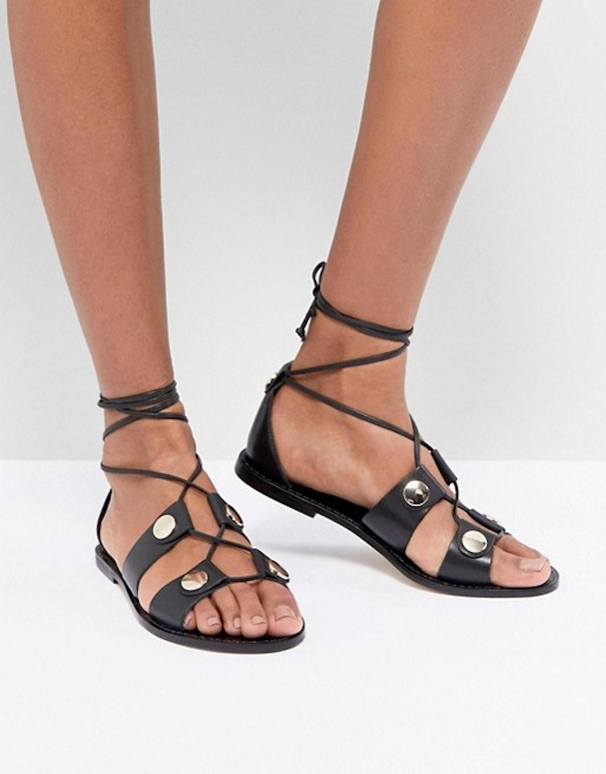 Kurt Geiger Marci leather tie up flat sandals