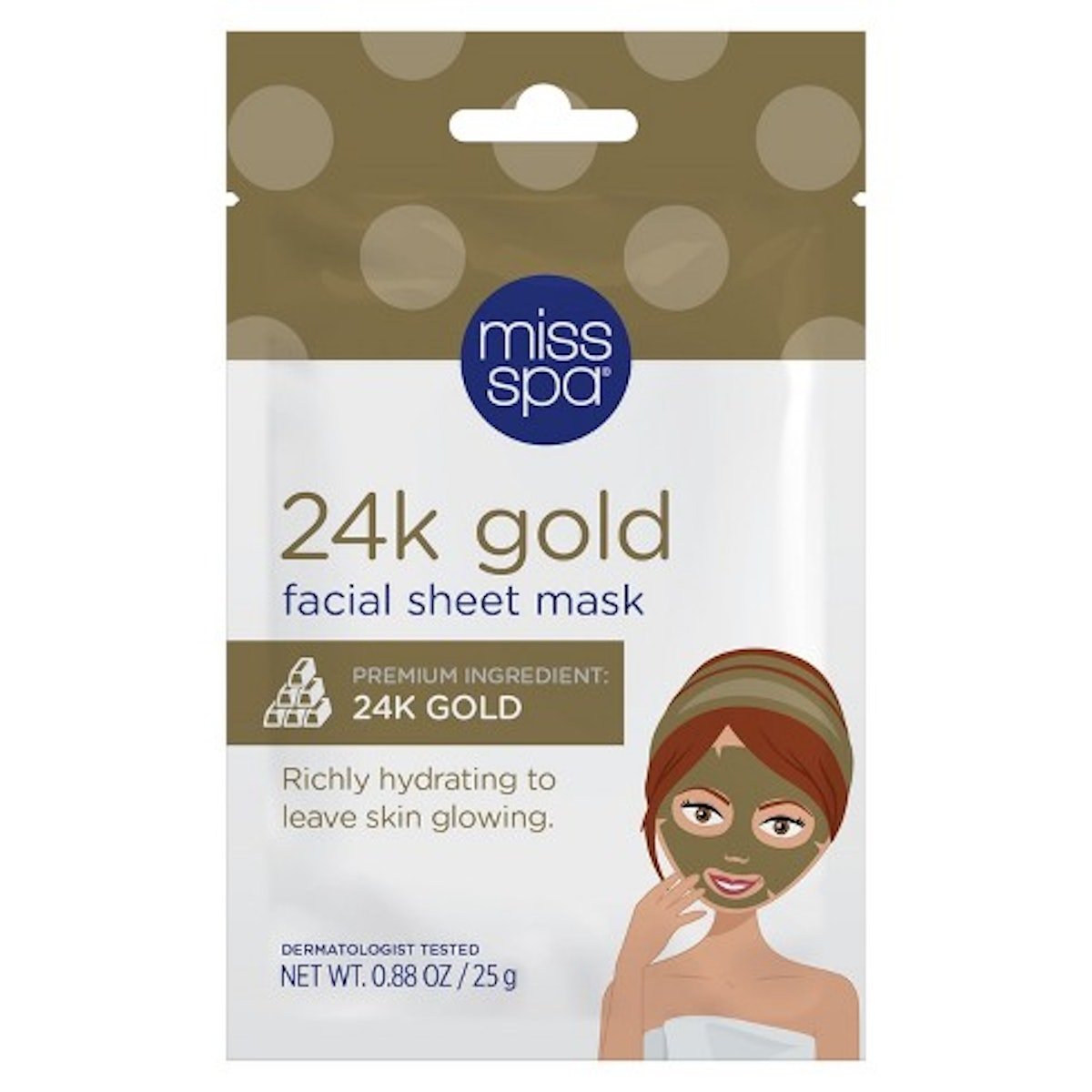 Miss Spa Restore and Brighten 24k Gold Radiance Facial Sheet Mask