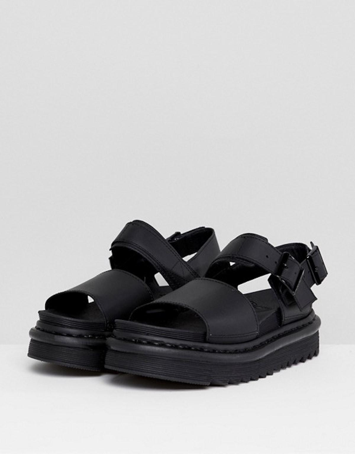 Dr Martens Voss Black Leather Flat Sandals
