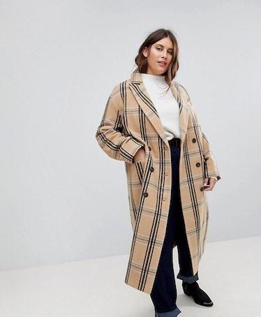 ASOS CURVE Wool Coat in Check