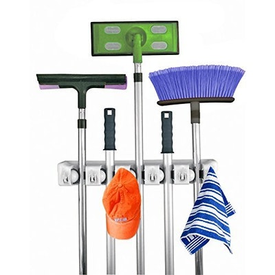 Home-It Mop and Broom Holder, 5 position with 6 hooks garage storage Holds up to 11 Tools,