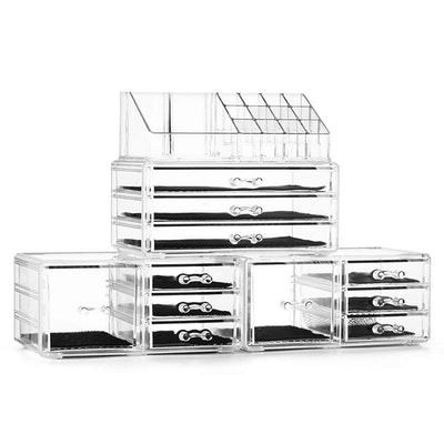 Felicite Home Acrylic Jewelry and Cosmetic Storage Boxes Makeup Organizer Set
