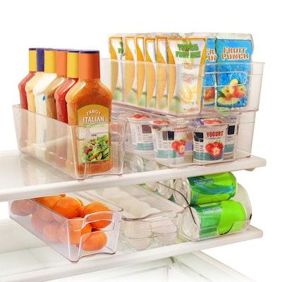 Greenco 6 Piece Refrigerator and Freezer Stackable Storage Organizer Bins with Handles