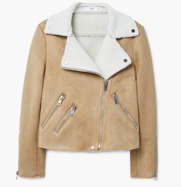 Faux shearling-lined biker jacket