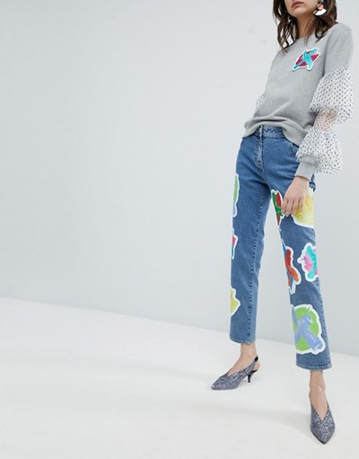House Of Holland Cross Patch Boyfriend Jeans