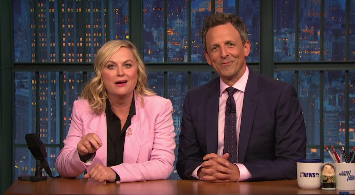"Seth Meyers & Amy Poehler Slam James Comey's ""Political Advice"" In A Throwback 'SNL' Skit"