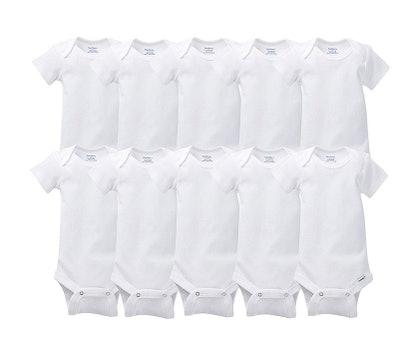 10-pack of White Onesies Brand Bodysuits