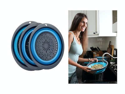 HOMWE Collapsible Silicone Colander/Strainer Set