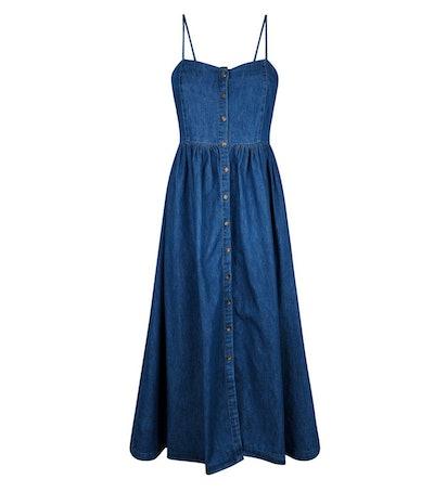Blue Rinse Wash Button Up Denim Midi Dress
