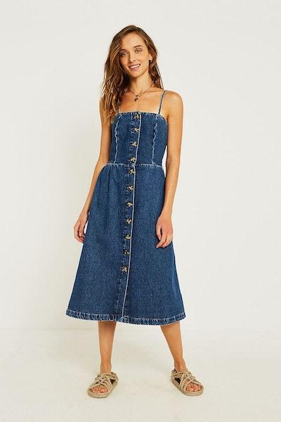 UO Emilia Denim Button-Through Midi Dress